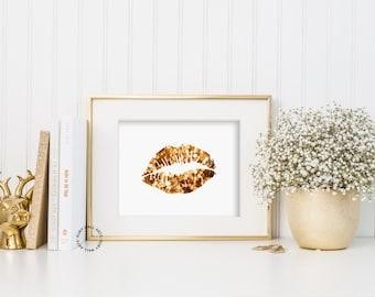 Glitter Lips, Gold Lips, Bling Lips, Chic, Print,Poster,Sign, Wall Art, Home Decor, Makeup, Printable, Girl Dorm, Glamour, Fashion Print