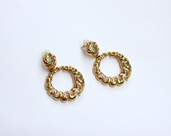 90s Vintage Gold Tone Costume Jewelry Earrings / Boho Circle Vintage Earrings / Hoop Earrings