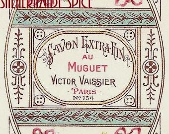 French Vintage Soap Label au Muguet jpeg instant digital download