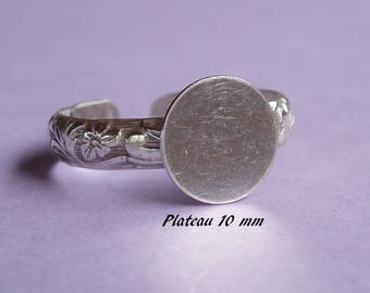 Ring ring in sterling silver.925 pattern leaves, 10 mm flat top