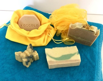 Summer Kit-4 soaps for the summer sea-mountains-camping-lake-trekking-excursions. Shower soap, shampoo, exfoliating, repellent.