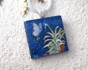 Butterfly Necklace, Dichroic Necklace, Fused Glass Jewelry ,Dichroic Jewelry, Deep  Blue Butterfly, Mesh Necklace, ccvalenzo,, 083016p101