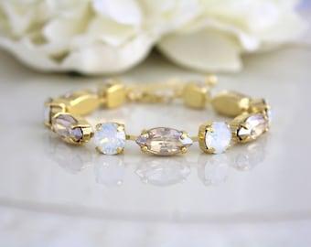 White opal Bracelet, Bridal bracelet, Bridal jewelry, Wedding bracelet, Swarovski bracelet, Gold bracelet, Tennis bracelet, Champagne