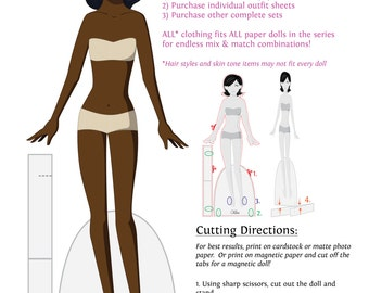 Build Your Own Set Instant Download Paper Doll - Dark Skin Tone, Black Hair
