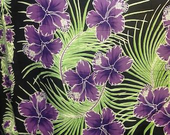 Hawaiian Floral Print Sarong. Beach Wear, Luau. Full Length Large Fringed Pareo/Sarong Or Beach Wear.