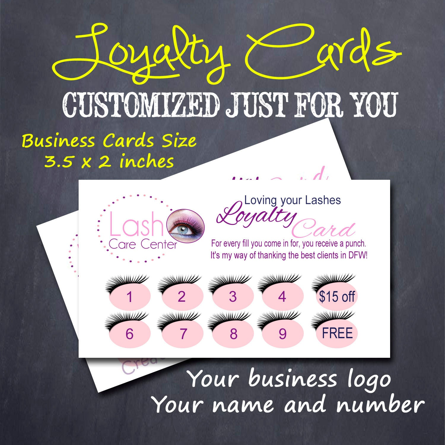 Customer Loyalty Cards Eyelash Extensions Customized Order Set