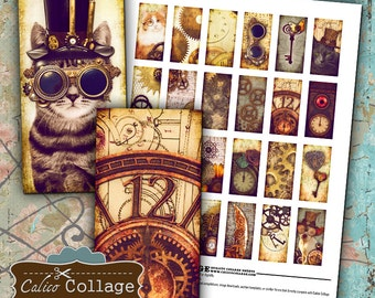 Steampunk, Collage Sheet, 1x2 Domino Images, Printable Ephemera, Instant Download, Steampunk Cat, Domino Collage Sheet, Clock Faces