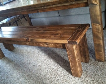 Farmhouse table style bench rustic bench farm bench