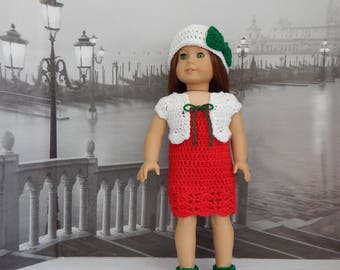 18 Inch Doll Crochet Christmas Dress, Crop Jacket, Hat and Shoes Fits most 18 Inch Dolls. 'CHRISTMAS SPECIAL'