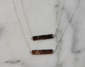 Silver Side Bar Necklace   Dainty Bar Necklace, Silver Bar Necklace, Small Bar, Layered Necklace, Delicate Necklace, Minimalist Necklace