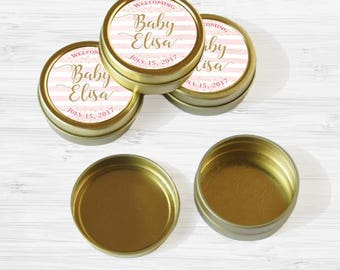 Personalized Baby Shower Favor Tins - Gold Pink and Gold Favor Tins - Mint Tin - 70 Gold Mint Tin Favors - Gold Tin Mints - Welcome Baby