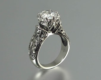 The ENCHANTED PRINCESS 14K white gold White Sapphire engagement ring