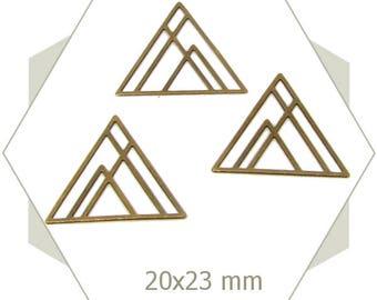 bronze geometric triangles, BB228 8 charms
