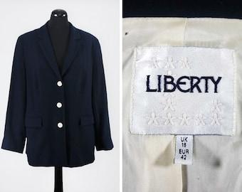 Vintage Single-Breasted Navy Wool Liberty Blazer