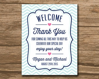 Welcome Bag Tag, Wedding Favor Tag, Hang Tag, Thank You Tag, Wine Label, Welcome Bag Label - aqua navy and pink, any colors - 465