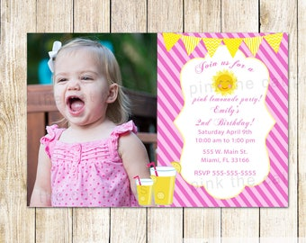 Yellow Pink Lemonade Invitation With Photo - Lemonade Birthday Invitation Girl Lemonade Party Invitation Girl Lemonade Party Lemonade Theme