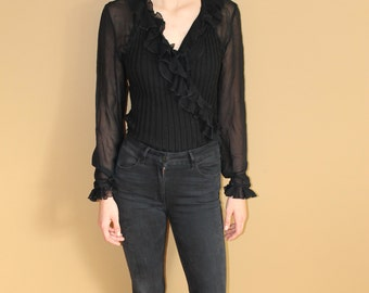 80's Victorian 'Rocker Girl' Frilly Blouse