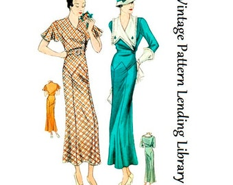 1934 Ladies Day Dress With Large Collar - Reproduction Sewing Pattern #T1481