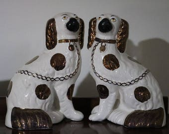 1800s Pair of Antique Staffordshire Copper Lustre Wally Mantle Dogs. In very good condition, no damage and repairs