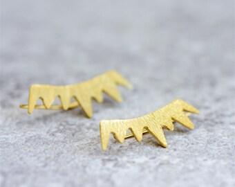 Gold Ear Climbers, Unique Ear Climbers, Gold Cuff Eerrings, Ear Cuff, Ear Crawlers ,Spikes Ear Climbers, Ear Sweeps, Statement Jewelry
