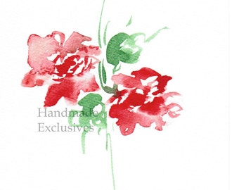 Handpainted Greeting card, Handmade card, Red Rose,  Watercolor Card, Any occasion, Mother's day, Blank, under 10, Handmade Exclusives