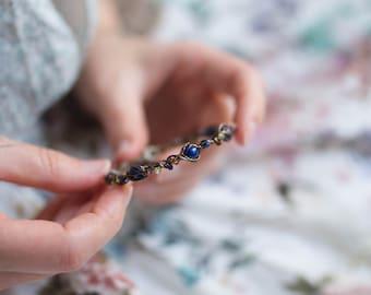 Lapis lazuli peridot tourmaline copper bracelet
