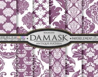 Antique Fuchsia Damask Digital Paper with Fuchsia Scrapbook Background - Digital Damask Printable Paper