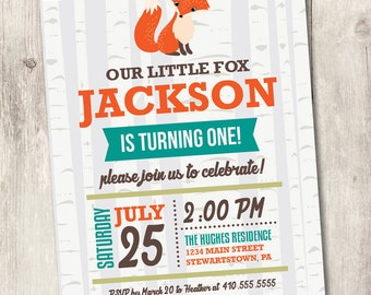 fox birthday invitation, woodland birthday invite, boy first birthday, 1st birthday personalized invitation, birch trees, baby fox
