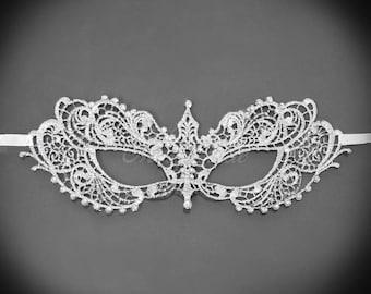 Lace Masquerade Mask, RHINESTONES, shades of grey, silver lace, lace masquerade mask, silver mask, silver lace mask w/ rhinestones