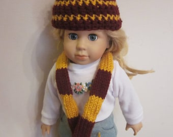 Wizard House Colors Hat and Scarf set for Girl Dolls- 18 inch dollsRed-Gold