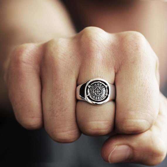 Mens Ring Silver Carpe Diem Signet Coin Rings Personalized