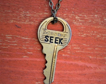 "Hand Stamped Vintage Key ""SEEK"" Necklace (#485) - Jewelry Necklace Pendant Custom"
