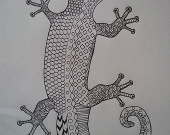 Adult Coloring Page Gecko - Zen Tangle, Zen Doodle, Ink Drawing