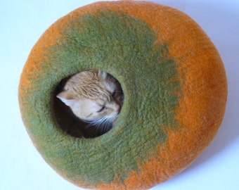 Wool Cat Bed / Cat Cave / Cat Den / Cat Cocoon / Cat House /  Orange Bubble and GIFT