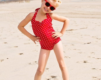 Red Dolly Red and white polka dot Retro one piece girls vintage swimsuit sizes 2-12