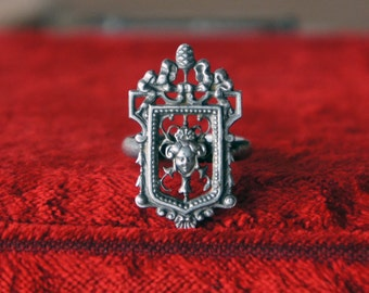 Solid Silver Antique Style Baroque Neoclassical 18th Century Ring