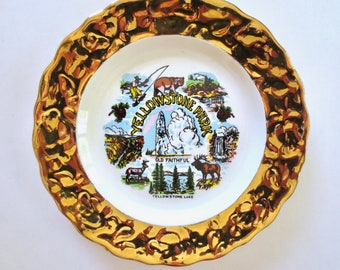 Vintage 22K Gold Yellowstone Park Plate 40s Souvenir Plate, Old Faithful, Grotto Geyser, Grand Canyon, Lower Falls, Jackpot Jen