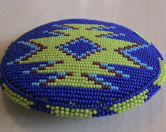 Bead Work Buckle in Lime Green and Blue