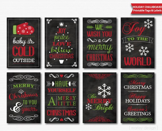 Christmas tags printable chalkboard red green digital download solutioingenieria Images