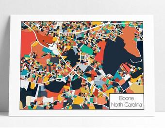 Boone NC Map Art Print - Mountain Art, Gift Idea, ASU, Boone Print, Boone Map Poster, Boone Map Print, Wall Art, Unique Art, Abstract Art