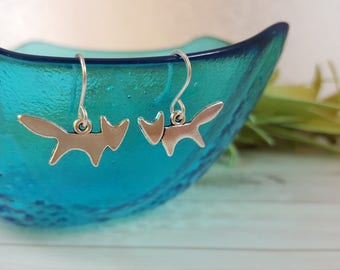 Fox Earrings - Woodland Earrings - Woodland Jewelry - Dainty Fox Earrings - Silver Fox Earrings - Cute Dangling - Animal Lover Gift