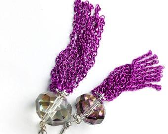 Bright Purple Tassel Earrings Crystal Long Earrings