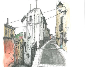 Original. Watercolor and ink. Streets