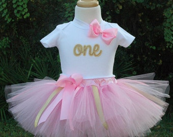 Pink and Gold 1st Birthday Outfit,girls tutu,first birthday,one year old,pink and gold tutu,1 year old,one birthday,girls 1st,dress,one year