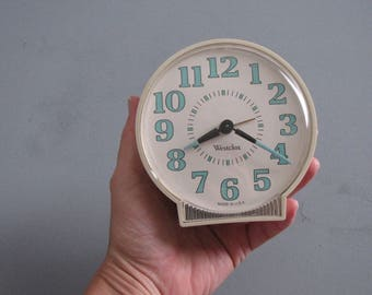 Vintage Westclox White and Turquoise Wind Up Clock