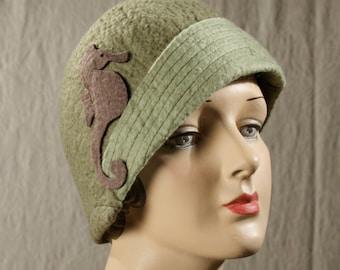 Assymetrical Cloche Hat in Pale Olive Green W/Sea Horse Embellishment - Wool Felt Cloche - Wool Hat - Wool Cloche - 1930's Cloche