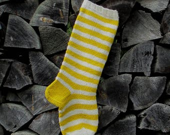 """READY TO SHIP! Christmas Stocking ~22"""" Personalized Hand knit from Wool Yellow and White stripes"""