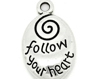 4 Follow Your Heart Drop Charm Pendants Swirl Charm Double Sided Charm 4230