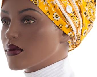Wrap Scarf Tichel Scarf Cotton Yellow Black White Bandana Print  Haircovering Handmade