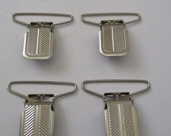 Large Silver Metal Suspender Clips